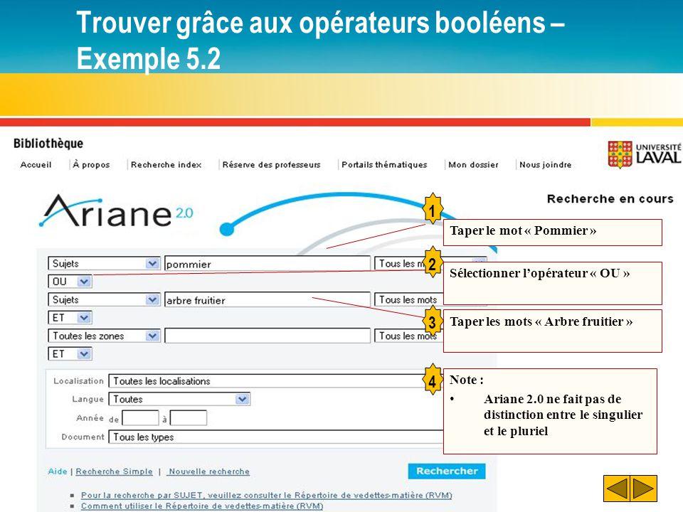 Trouver grâce aux opérateurs booléens – Exemple 5.2