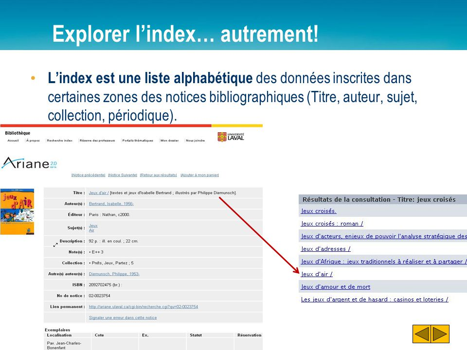 Explorer l'index… autrement!