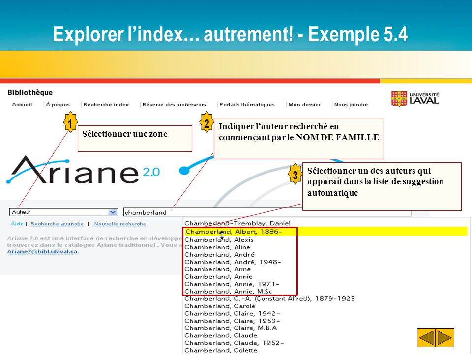 Explorer l'index… autrement! - Exemple 5.4
