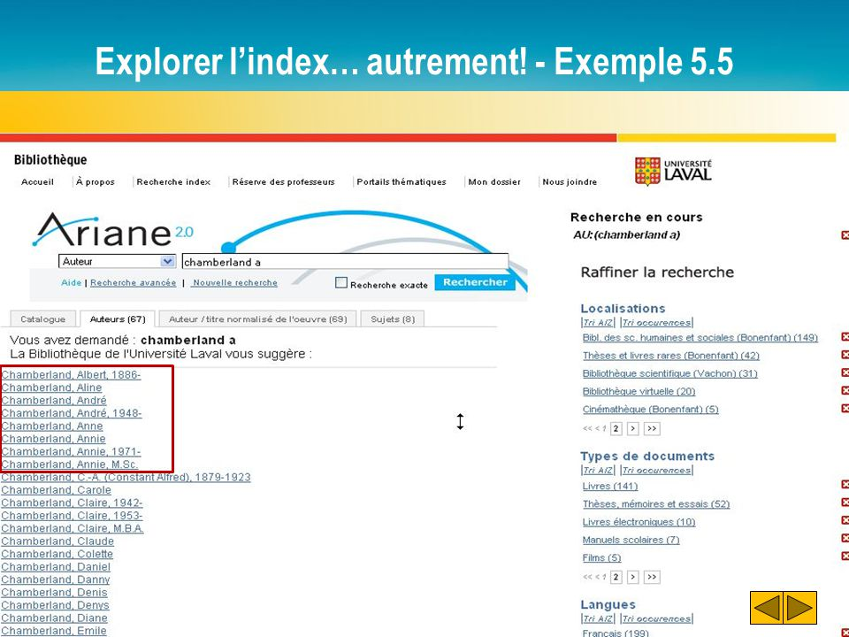 Explorer l'index… autrement! - Exemple 5.5