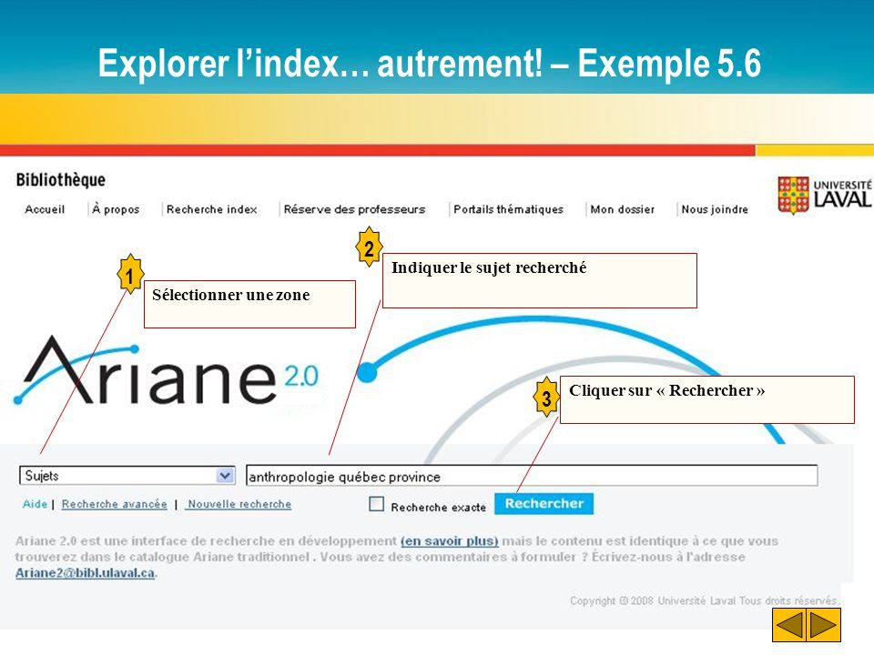 Explorer l'index… autrement! – Exemple 5.6