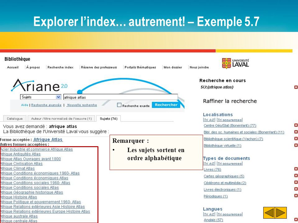 Explorer l'index… autrement! – Exemple 5.7