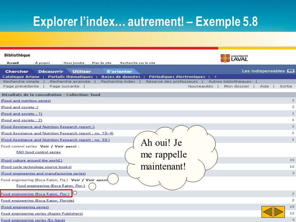Explorer l'index… autrement! – Exemple 5.8