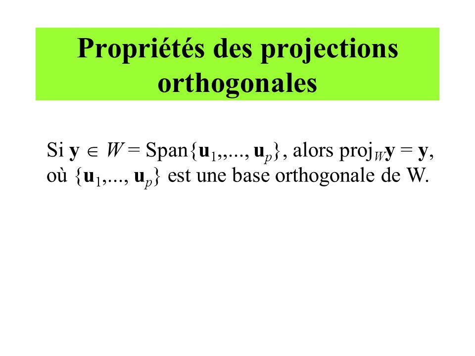 Propriétés des projections orthogonales