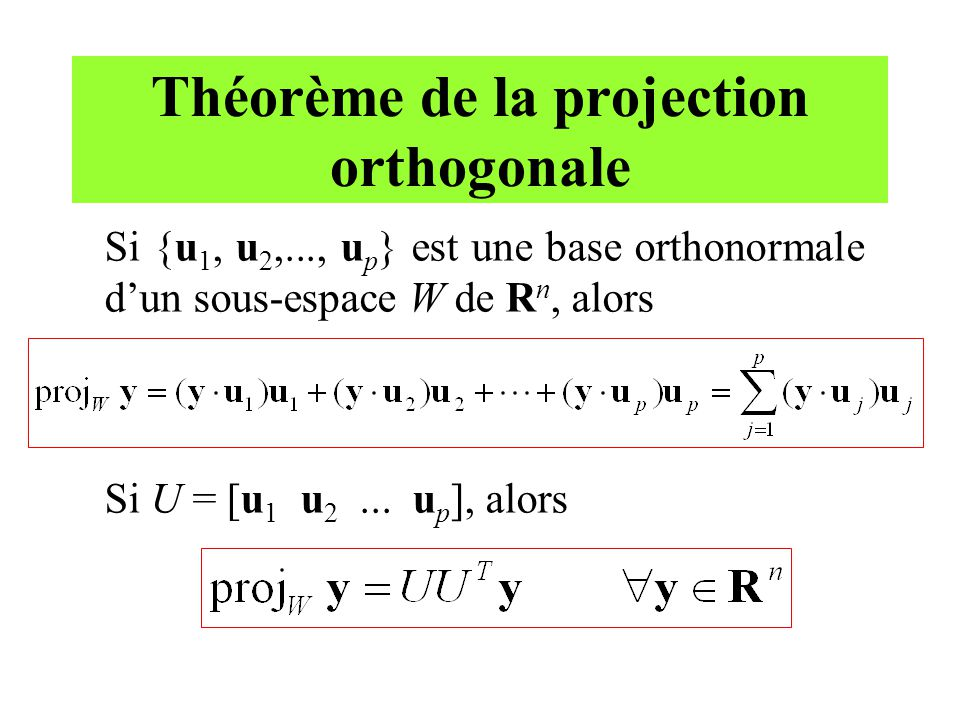 Théorème de la projection orthogonale