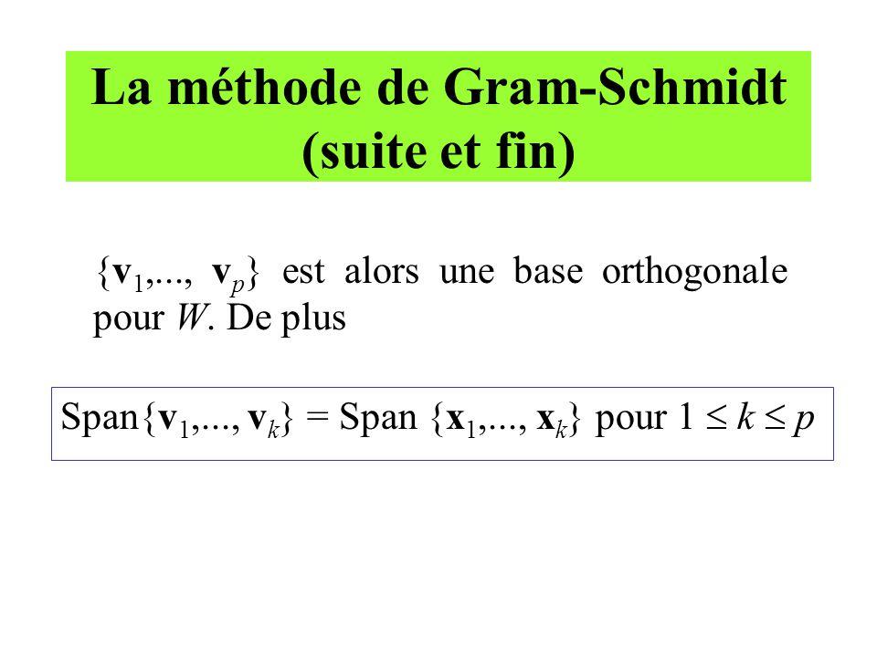 La méthode de Gram-Schmidt (suite et fin)