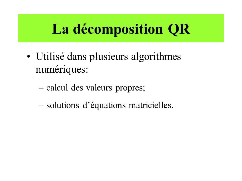 La décomposition QR Utilisé dans plusieurs algorithmes numériques: