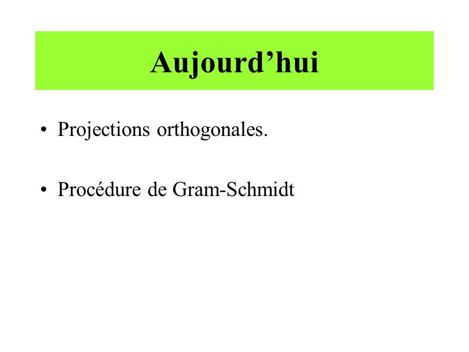 Aujourd'hui Projections orthogonales. Procédure de Gram-Schmidt