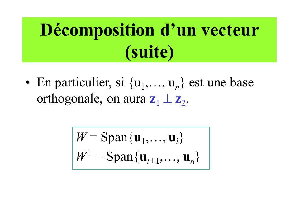 Décomposition d'un vecteur (suite)