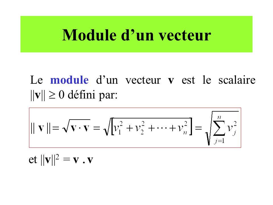 Module d'un vecteur Le module d'un vecteur v est le scalaire ||v||  0 défini par: et ||v||2 = v .