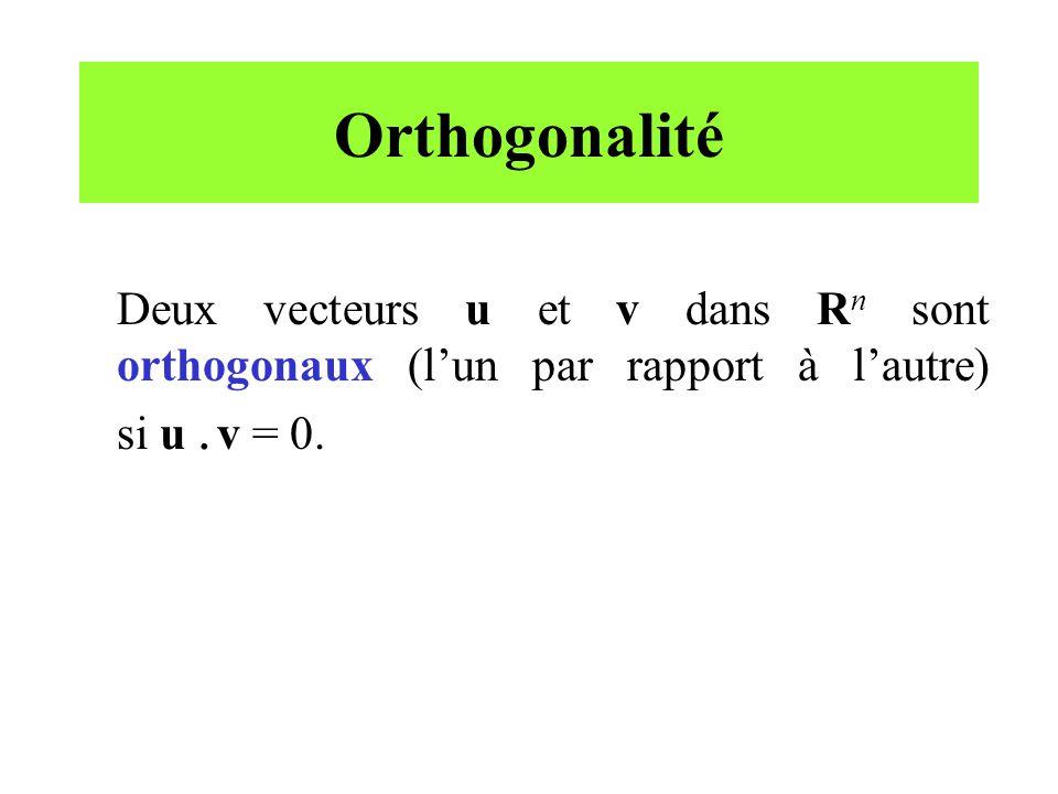 Orthogonalité Deux vecteurs u et v dans Rn sont orthogonaux (l'un par rapport à l'autre) si u .