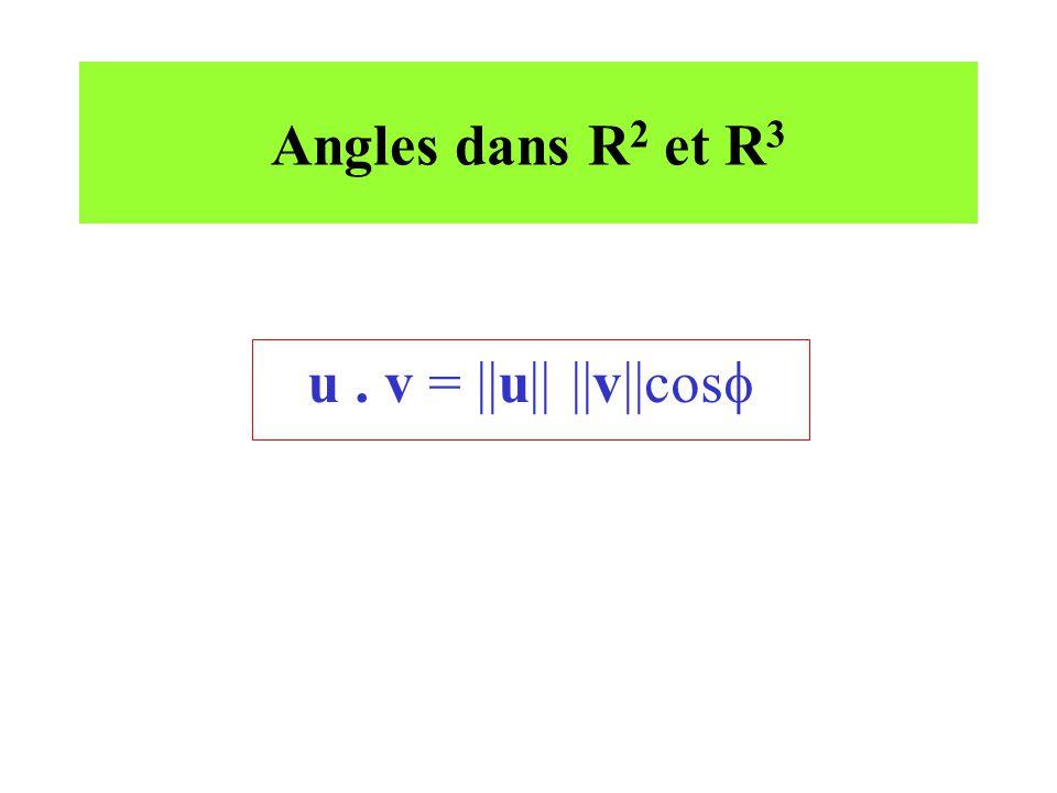 Angles dans R2 et R3 u . v = ||u|| ||v||cos