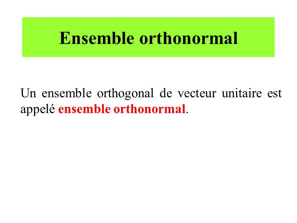 Ensemble orthonormal Un ensemble orthogonal de vecteur unitaire est appelé ensemble orthonormal.