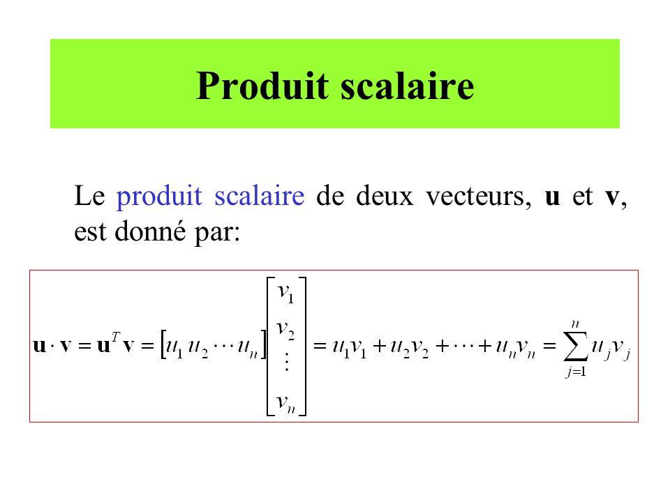 Produit scalaire Le produit scalaire de deux vecteurs, u et v, est donné par: