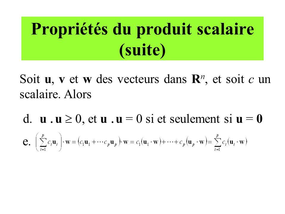 Propriétés du produit scalaire (suite)