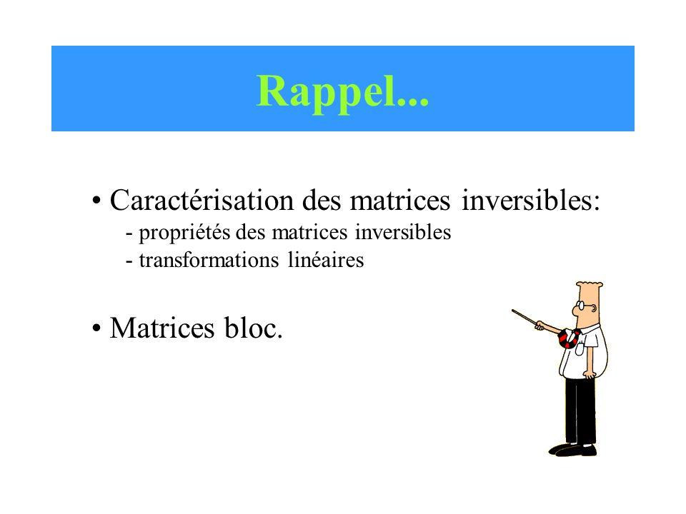 Rappel... Caractérisation des matrices inversibles: Matrices bloc.