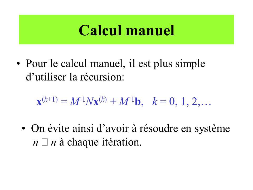 Calcul manuel Pour le calcul manuel, il est plus simple d'utiliser la récursion: x(k+1) = M-1Nx(k) + M-1b, k = 0, 1, 2,…