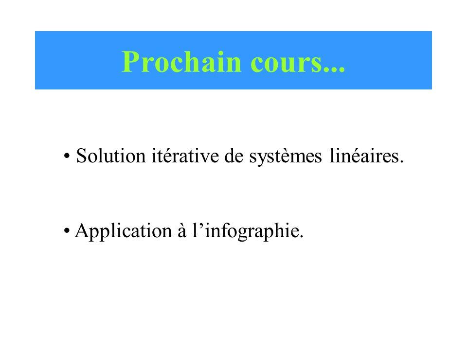 Prochain cours... Solution itérative de systèmes linéaires.