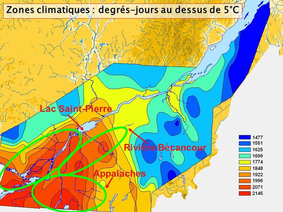Zones climatiques : degrés-jours au dessus de 5°C