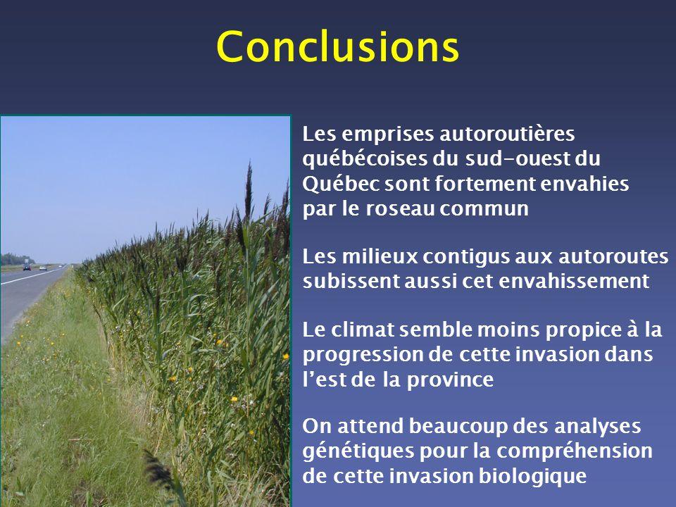 Conclusions Les emprises autoroutières québécoises du sud-ouest du Québec sont fortement envahies par le roseau commun.