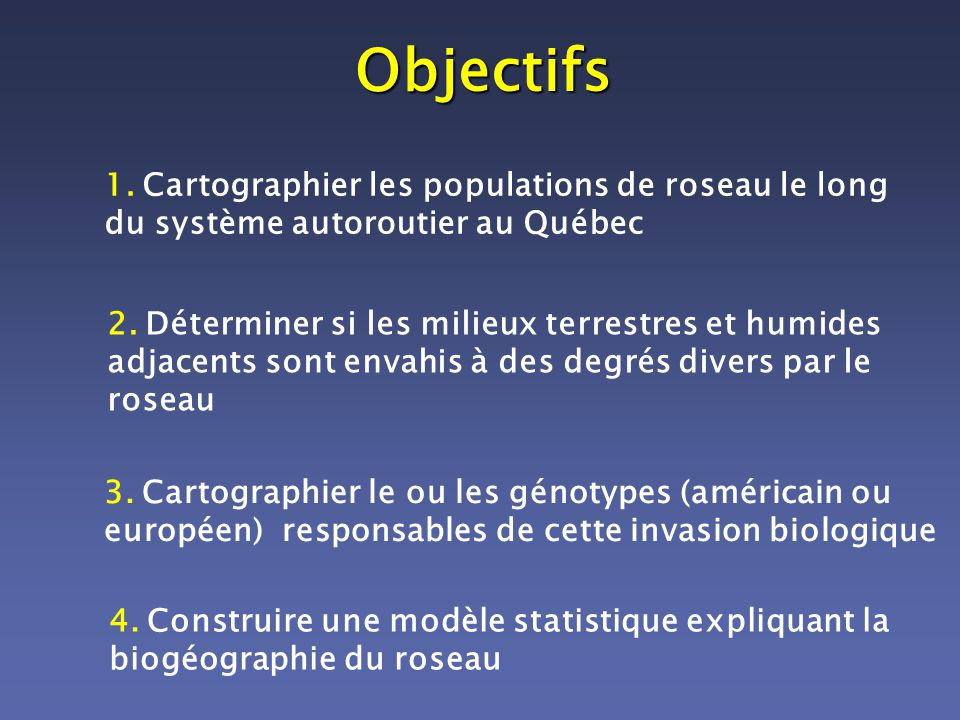 Objectifs 1. Cartographier les populations de roseau le long du système autoroutier au Québec.