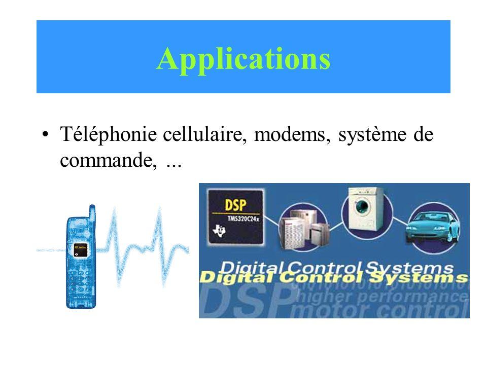 Applications Téléphonie cellulaire, modems, système de commande, ...