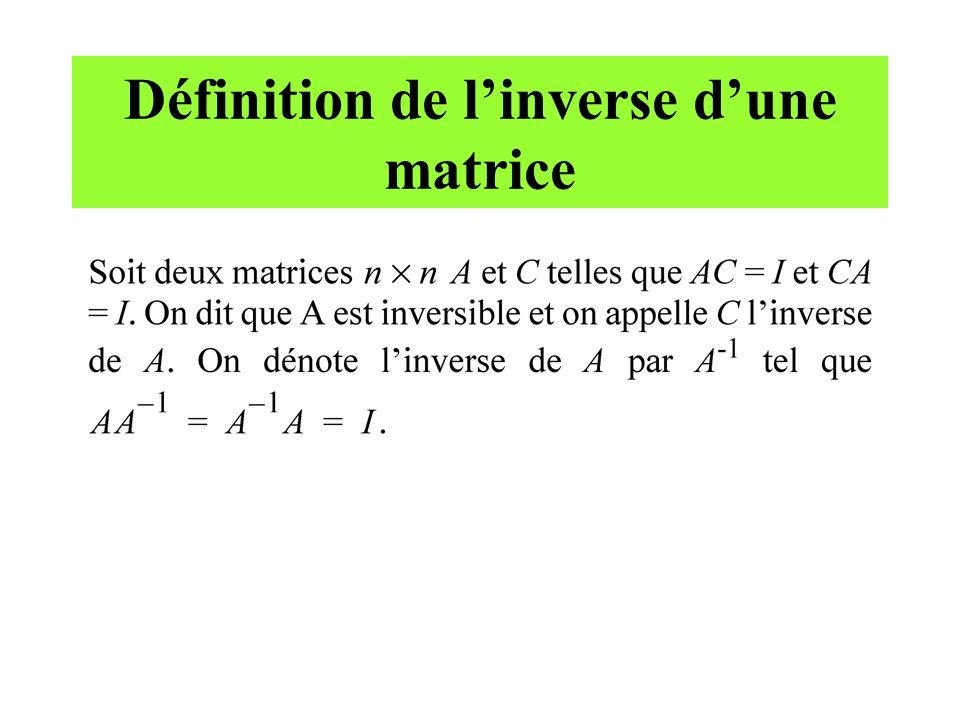 Définition de l'inverse d'une matrice