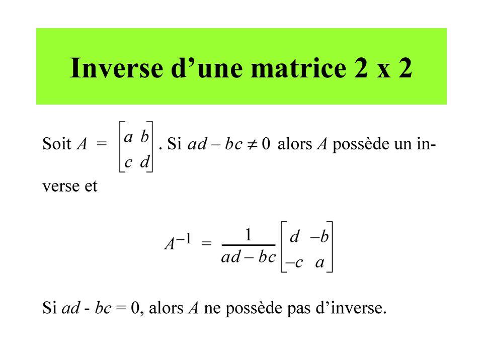 Inverse d'une matrice 2 x 2