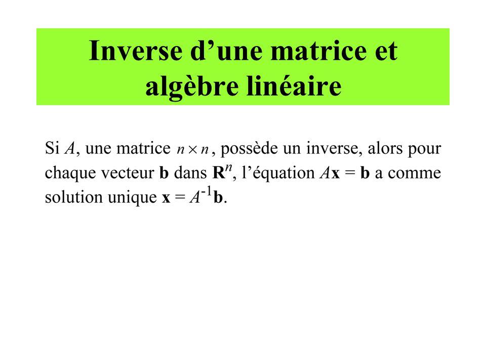 Inverse d'une matrice et algèbre linéaire