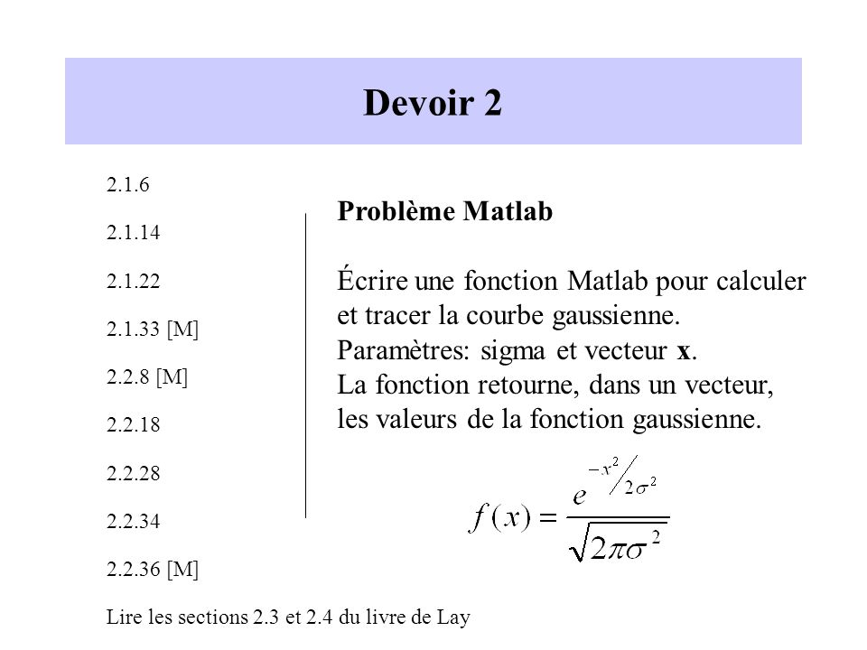 Devoir 2 Problème Matlab