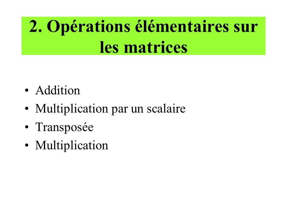 2. Opérations élémentaires sur les matrices