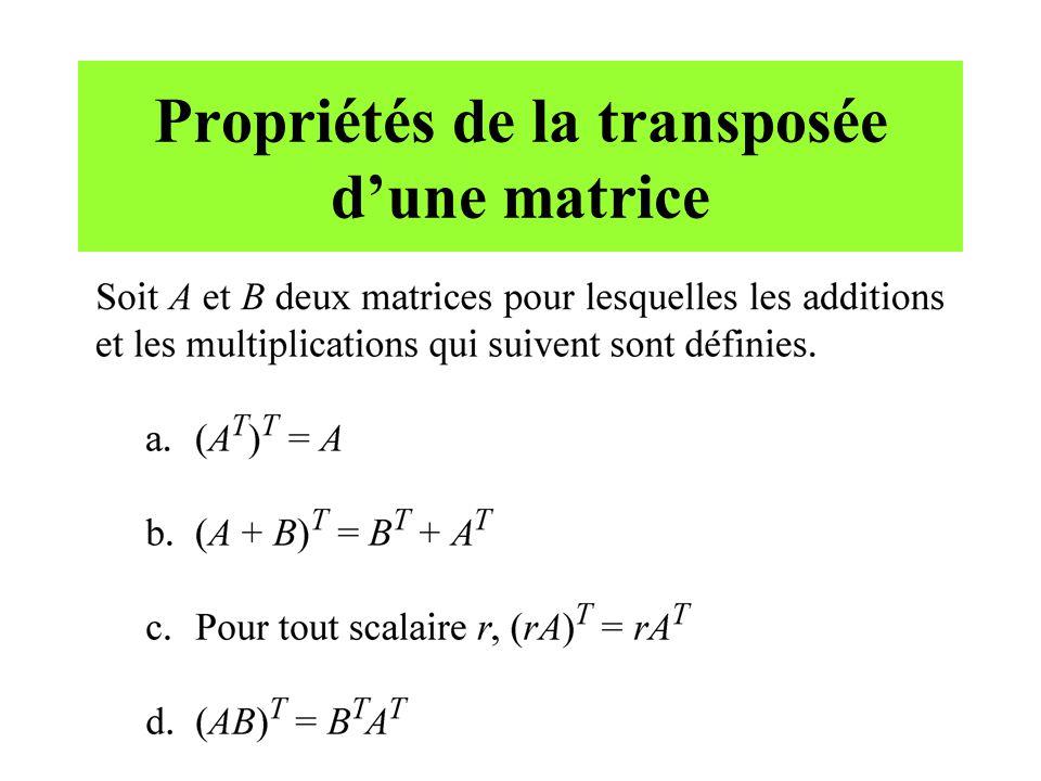 Propriétés de la transposée d'une matrice