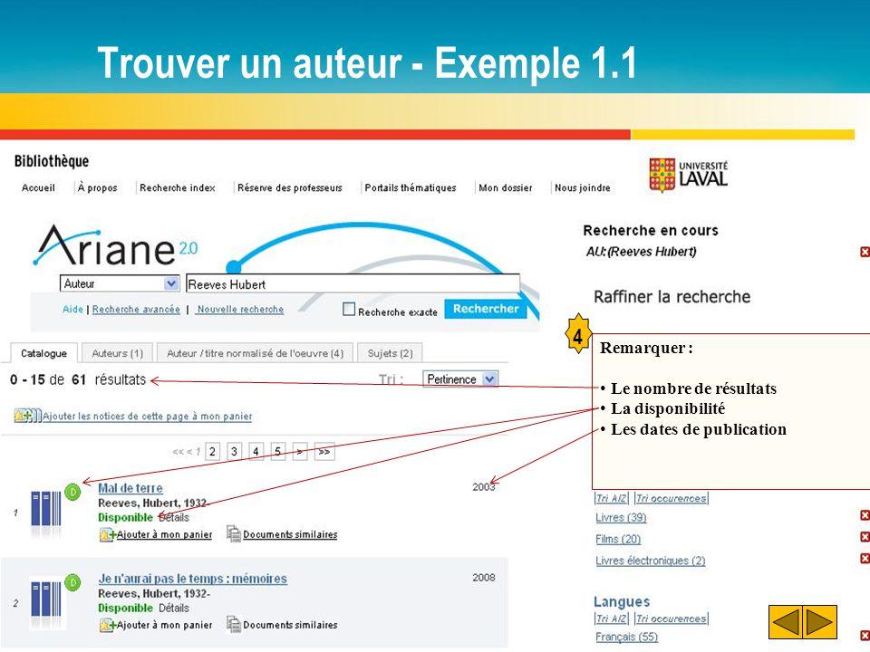 Trouver un auteur - Exemple 1.1