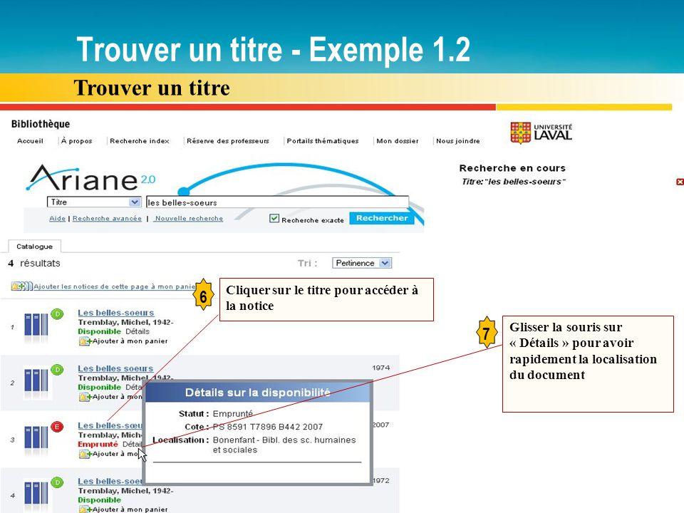 Trouver un titre - Exemple 1.2