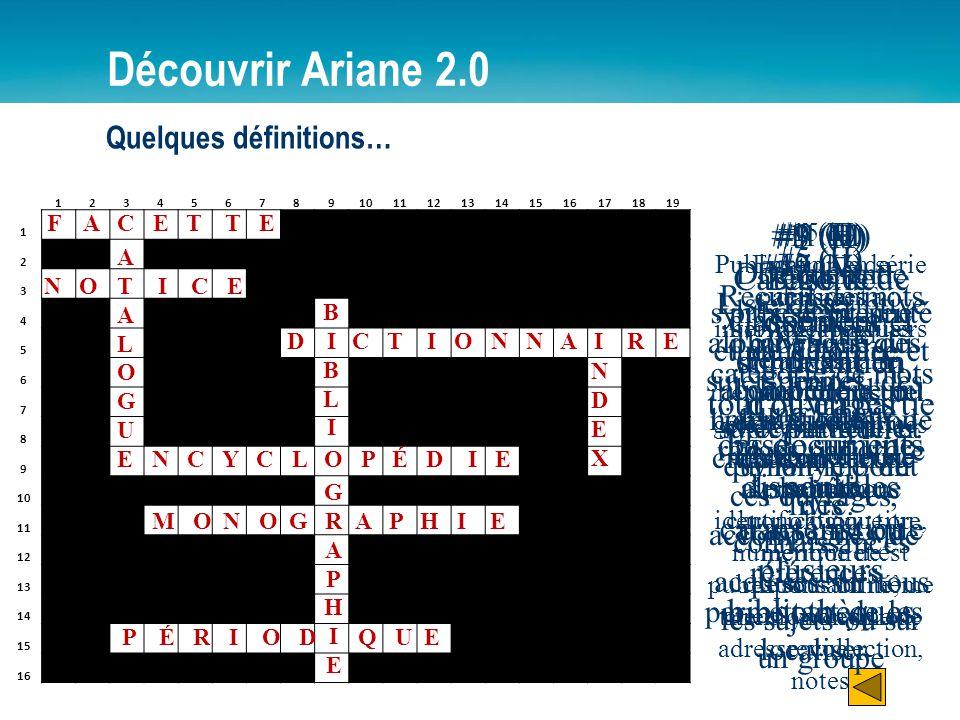 Découvrir Ariane 2.0 Quelques définitions… 1. 2. 3. 4. 5. 6. 7. 8. 9. 10. 11. 12. 13. 14.