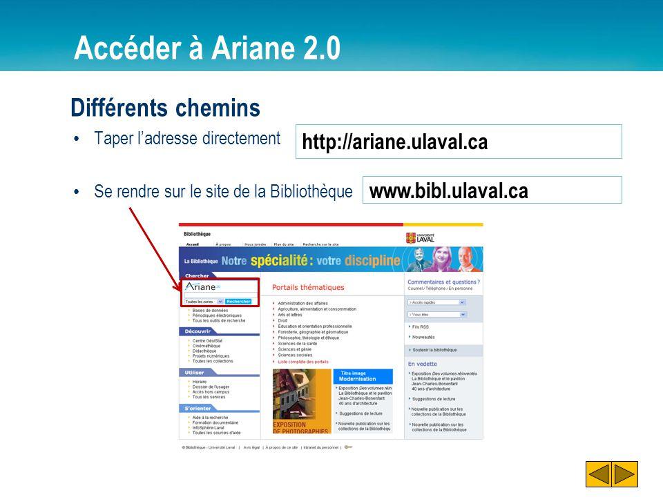 Accéder à Ariane 2.0 Différents chemins http://ariane.ulaval.ca