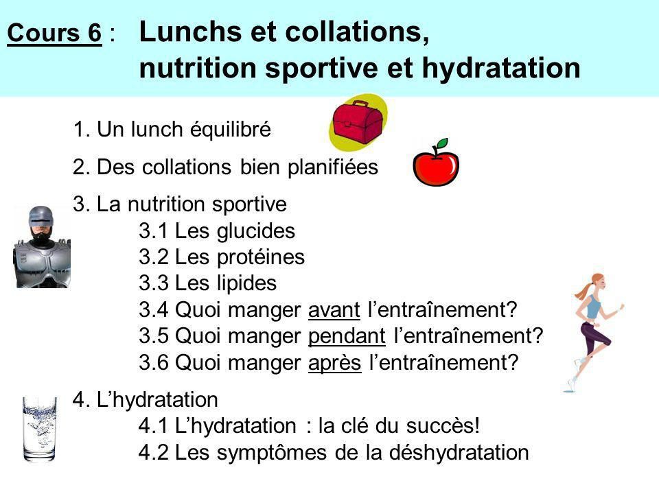 Cours 6 : Lunchs et collations, nutrition sportive et hydratation