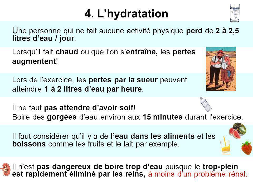 4. L'hydratation Une personne qui ne fait aucune activité physique perd de 2 à 2,5 litres d'eau / jour.