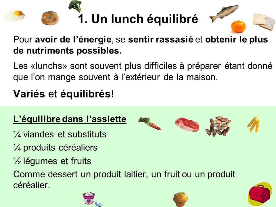1. Un lunch équilibré Pour avoir de l'énergie, se sentir rassasié et obtenir le plus de nutriments possibles.