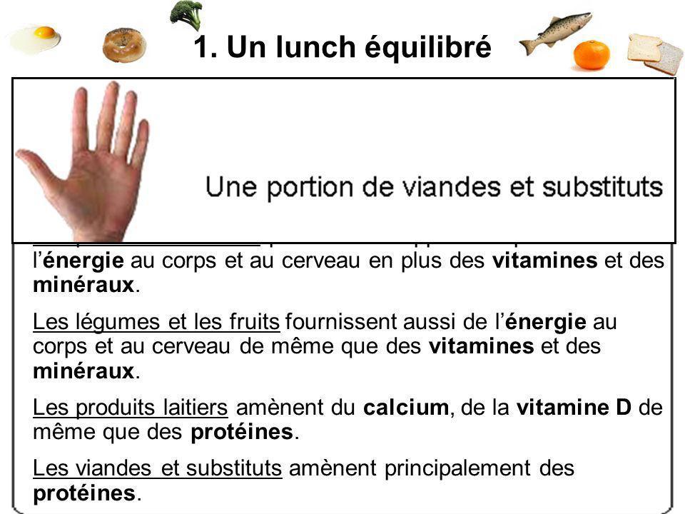 1. Un lunch équilibré Pour être rassasiant, il doit contenir :