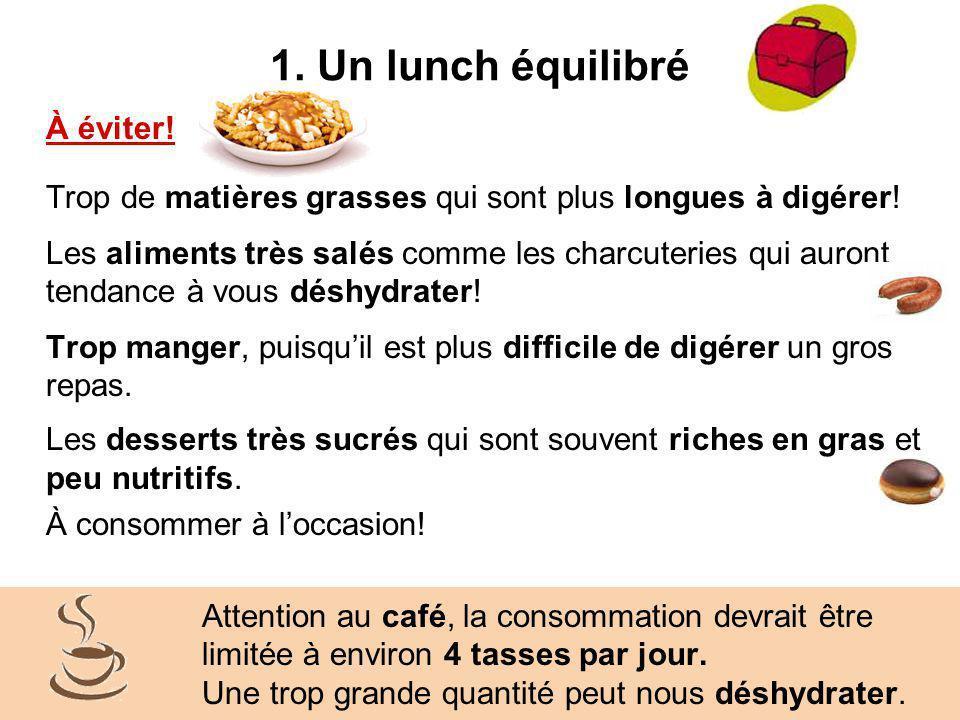 1. Un lunch équilibré À éviter!