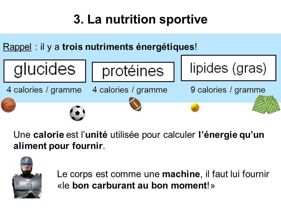 3. La nutrition sportive 4 calories / gramme. 9 calories / gramme. Rappel : il y a trois nutriments énergétiques!
