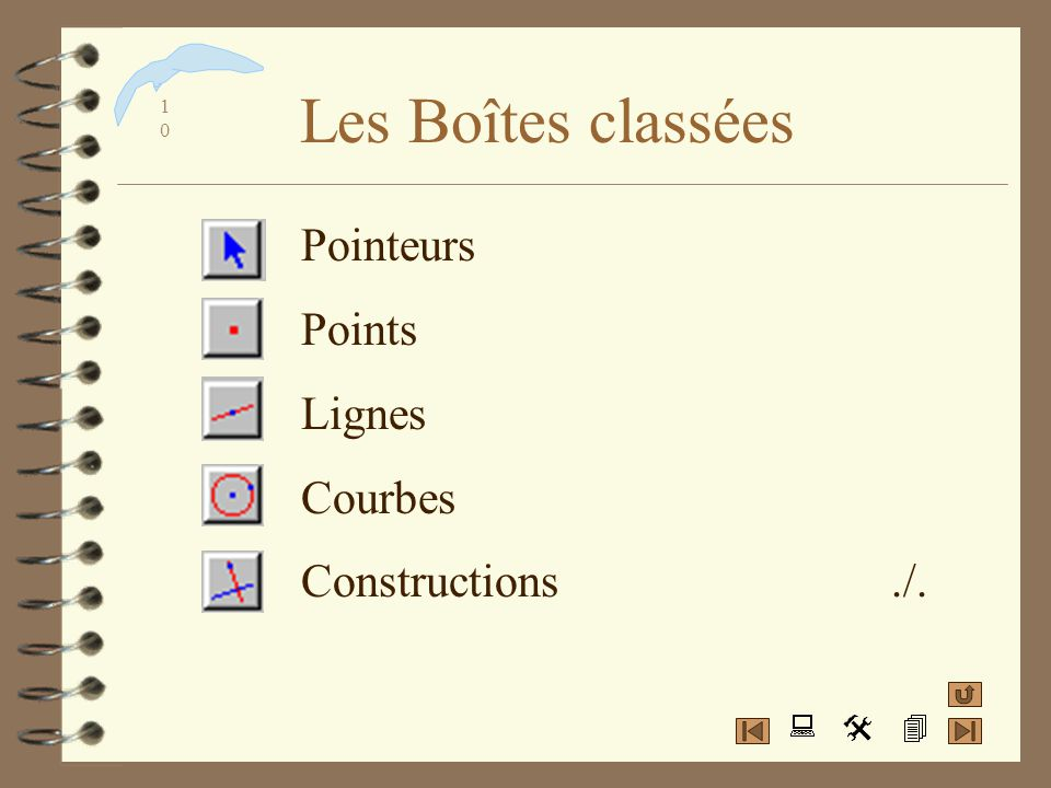 Les Boîtes classées Pointeurs Points Lignes Courbes Constructions ./.