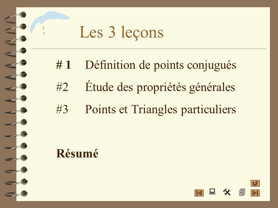 Les 3 leçons # 1 Définition de points conjugués