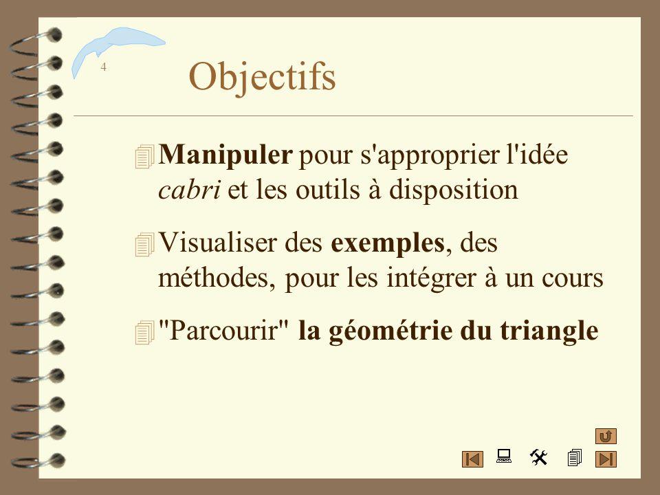 Objectifs Manipuler pour s approprier l idée cabri et les outils à disposition. Visualiser des exemples, des méthodes, pour les intégrer à un cours.