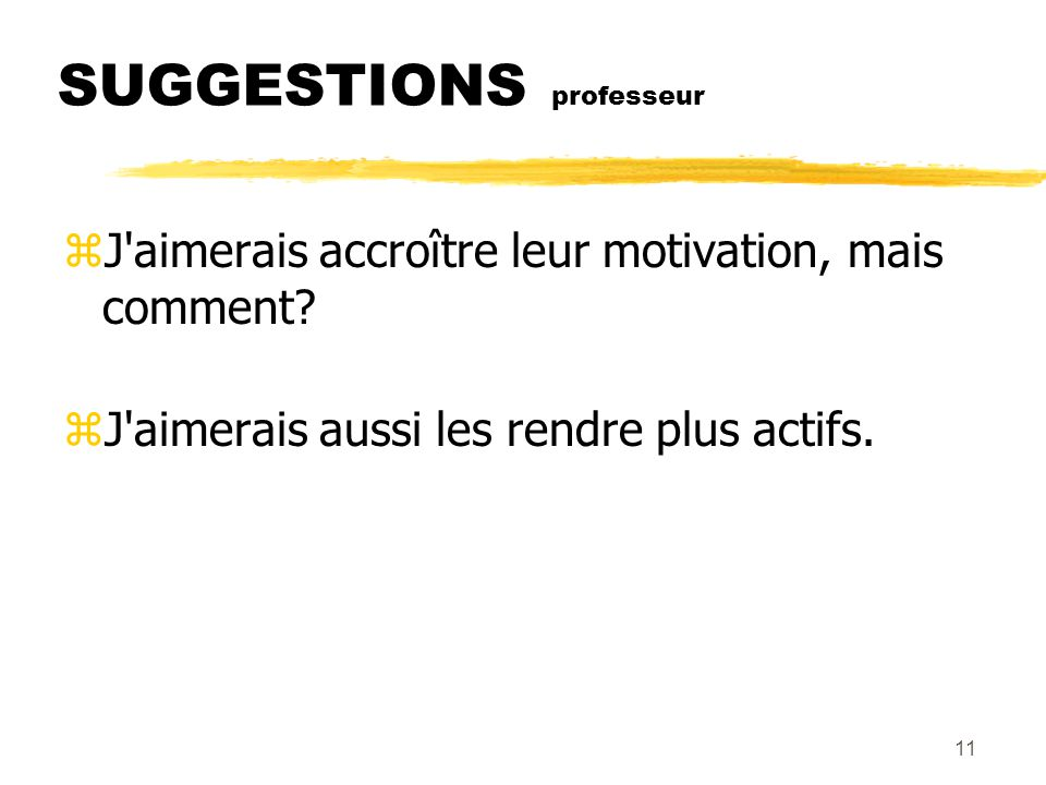 SUGGESTIONS professeur