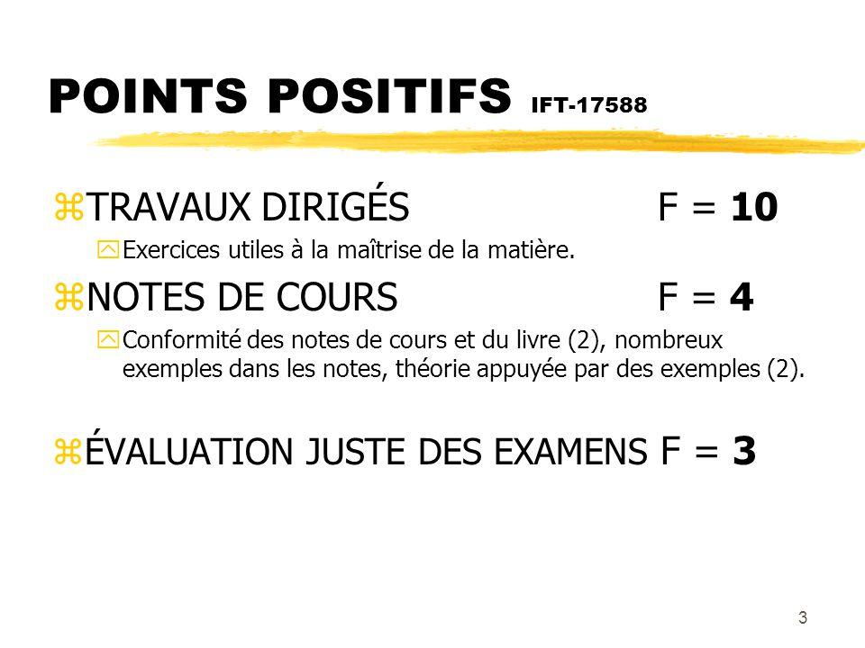 POINTS POSITIFS IFT-17588 TRAVAUX DIRIGÉS F = 10 NOTES DE COURS F = 4
