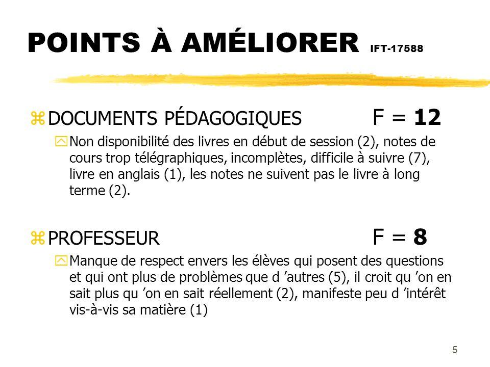 POINTS À AMÉLIORER IFT-17588