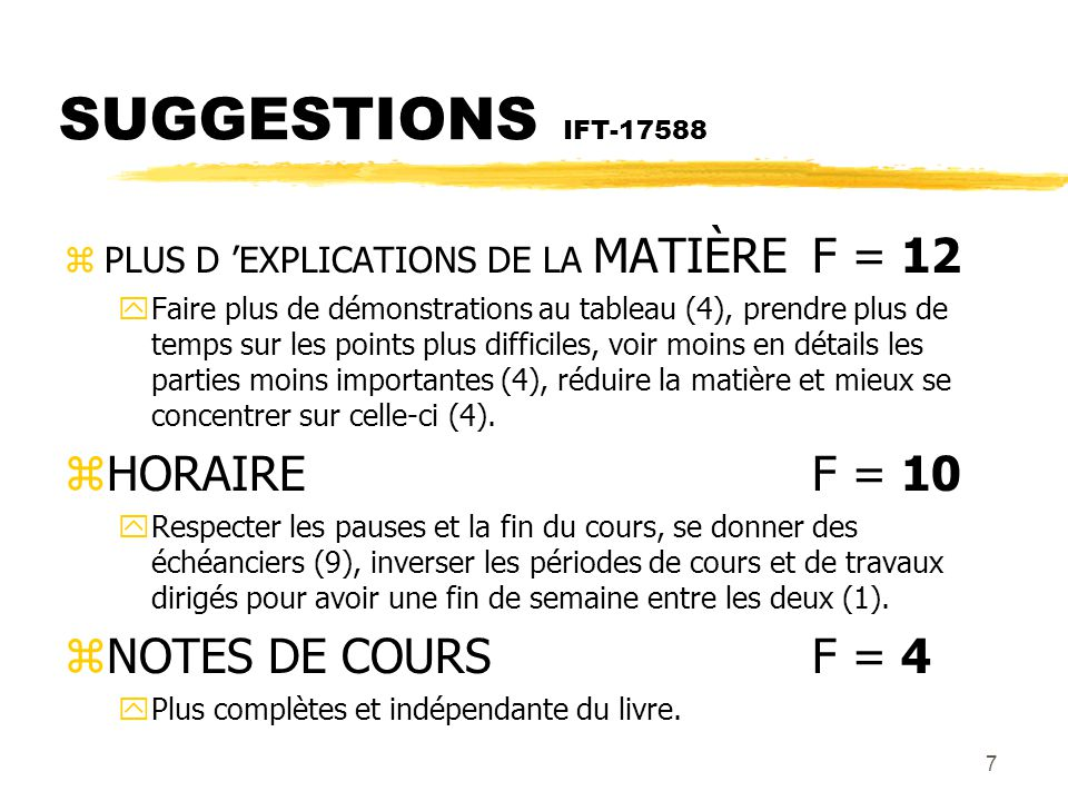 SUGGESTIONS IFT-17588 HORAIRE F = 10 NOTES DE COURS F = 4
