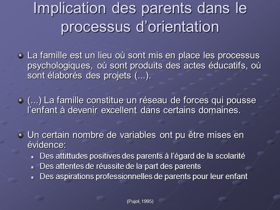 Implication des parents dans le processus d'orientation